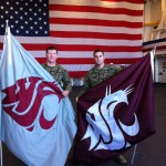 Today's flag wavers on the USS San Diego. 1st Lt Chris Pannek (Spokane, WA) and Sgt Andrew Tate (Dayton, WA). Thanks for your service to our country, WSU and the Ol' Crimson Booster Club!