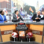 Fort Worth, TX - September 5, 2015 - Sundance Square: (L to R) Desmond Howard, Rece Davis, Lee Corso and Kirk Herbstreit on the set of College GameDay Built by the Home Depot (Photo by Scott Clarke / ESPN Images)