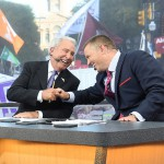 Fort Worth, TX - September 5, 2015 - Sundance Square: Lee Corso and Kirk Herbstreit on the set of College GameDay Built by the Home Depot (Photo by Scott Clarke / ESPN Images)