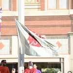 Fort Worth, TX - September 5, 2015 - Sundance Square: The Washington State University flag on the set of College GameDay Built by the Home Depot (Photo by Scott Clarke / ESPN Images)