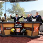 East Lansing, MI - September 12, 2015 - Munn Intramural Field: Desmond Howard, Rece Davis, Lee Corso and Kirk Herbstreit on the set of College GameDay Built by the Home Depot (Photo by Phil Ellsworth / ESPN Images)
