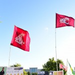 East Lansing, MI - September 12, 2015 - Munn Intramural Field: The Washington State University flags on the set of College GameDay Built by the Home Depot (Photo by Phil Ellsworth / ESPN Images)