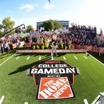 East Lansing, MI - September 12, 2015 - Munn Intramural Field: Samantha Ponder on the set of College GameDay Built by the Home Depot (Photo by Phil Ellsworth / ESPN Images)