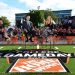East Lansing, MI - September 12, 2015 - Munn Intramural Field: Michigan State University Spartans Coach Mark D'Antonio and Samantha Ponder on the set of College GameDay Built by the Home Depot (Photo by Phil Ellsworth / ESPN Images)