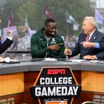 East Lansing, MI - September 12, 2015 - Munn Intramural Field: Rece Davis, Draymond Green and Lee Corso on the set of College GameDay Built by the Home Depot (Photo by Phil Ellsworth / ESPN Images)