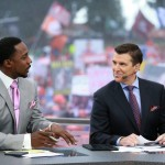 Clemson, SC - October 3, 2015 - Memorial Stadium: Desmond Howard and Rece Davis on the set of College GameDay Built by the Home Depot (Photo by Allen Kee / ESPN Images)