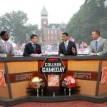 Clemson, SC - October 3, 2015 - Memorial Stadium: Desmond Howard, Rece Davis, David Pollack and Kirk Herbstreit on the set of College GameDay Built by the Home Depot (Photo by Allen Kee / ESPN Images)