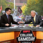 Ann Arbor, MI - October 17, 2015 - University of Michigan: Rece Davis and Lee Corso on the set of College GameDay Built by the Home Depot (Photo by Joe Faroni / ESPN Images)