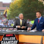 Ann Arbor, MI - October 17, 2015 - University of Michigan: Lee Corso and Kirk Herbstreit on the set of College GameDay Built by the Home Depot (Photo by Joe Faroni / ESPN Images)