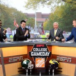 Ann Arbor, MI - October 17, 2015 - University of Michigan: Desmond Howard, Rece Davis, Lee Corso and Kirk Herbstreit on the set of College GameDay Built by the Home Depot (Photo by Joe Faroni / ESPN Images)