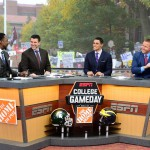 Ann Arbor, MI - October 17, 2015 - University of Michigan: Desmond Howard, Rece Davis, David Pollack and Kirk Herbstreit on the set of College GameDay Built by the Home Depot (Photo by Joe Faroni / ESPN Images)