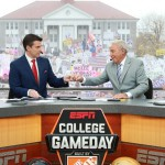 Harrisonburg, VA - October 24, 2015 - James Madison University: Rece Davis and Lee Corso on the set of College GameDay Built by the Home Depot (Photo by Allen Kee / ESPN Images)