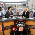 Waco, TX - November 14, 2015 - McLane Stadium: Desmond Howard, Rece Davis, Lee Corso and Kirk Herbstreit on the set of College GameDay Built by the Home Depot (Photo by Joe Faraoni / ESPN Images)