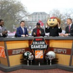Columbus, OH - November 21, 2015 - Ohio State University: Desmond Howard, Rece Davis, Archie Griffin, Lee Corso and Kirk Herbstreit on the set of College GameDay Built by the Home Depot (Photo by Allen Kee / ESPN Images)