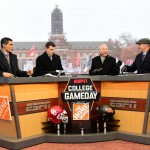 Stillwater, OK - November 28, 2015 - Oklahoma State University: David Pollack, Rece Davis, Lee Corso and Kirk Herbstreit on the set of College GameDay Built by the Home Depot (Photo by Phil Ellsworth / ESPN Images)