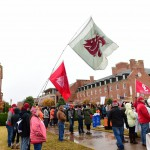 Stillwater, OK - November 28, 2015 - Oklahoma State University: The Washington State University Cougars flag on the set of College GameDay Built by the Home Depot (Photo by Phil Ellsworth / ESPN Images)