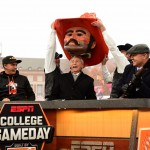 Stillwater, OK - November 28, 2015 - Oklahoma State University:  Ricky Fowler, Lee Corso and Kirk Herbstreit on the set of College GameDay Built by the Home Depot (Photo by Phil Ellsworth / ESPN Images)