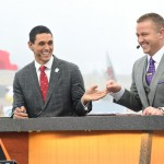 Indianapolis, IN - December 5, 2015 - Pan Am Plaza: David Pollack and Kirk Herbstreit on the set of College GameDay Built by the Home Depot during coverage of the 2015 Big Ten Championship game (Photo by Scott Clarke / ESPN Images)