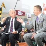 Indianapolis, IN - December 5, 2015 - Pan Am Plaza: Lee Corso and Kirk Herbstreit on the set of College GameDay Built by the Home Depot during coverage of the 2015 Big Ten Championship game (Photo by Scott Clarke / ESPN Images)