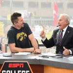 Indianapolis, IN - December 5, 2015 - Pan Am Plaza: Dallas Clark and Lee Corso on the set of College GameDay Built by the Home Depot during coverage of the 2015 Big Ten Championship game (Photo by Scott Clarke / ESPN Images)