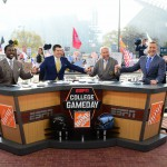 Philadelphia, PA - December 12, 2015 - XFinity Center: Desmond Howard, Rece Davis, Lee Corso and Kirk Herbstreit on the set of College GameDay Built by the Home Depot (Photo by Joe Faraoni / ESPN Images)