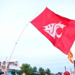 Louisville, KY - September 17, 2016 - University of Louisville: Washington State University flag on the set of College GameDay Built by the Home Depot (Photo by Phil Ellsworth / ESPN Images)