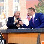 Knoxville, TN - September 24, 2016 - University of Tennessee: Lee Corso and Kirk Herbstreit on the set of College GameDay Built by the Home Depot (Photo by Scott Clarke / ESPN Images)