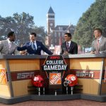 Clemson, SC - September 30, 2016 - Clemson University: Desmond Howard, Rece Davis, David Pollack and Kirk Herbstreit on the set of College GameDay Built by the Home Depot (Photo by Allen Kee / ESPN Images)