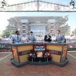Tuscaloosa, AL - October 21, 2016 - University of Alabama: Desmond Howard, Rece Davis, Lee Corso and Kirk Herbstreit on the set of College GameDay Built by the Home Depot (Photo by Allen Kee / ESPN Images)