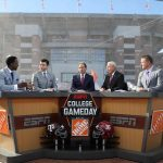 Tuscaloosa, AL - October 21, 2016 - University of Alabama: Desmond Howard, Rece Davis, Coach Nick Saban of the University of Alabama Crimson Tide, Lee Corso and Kirk Herbstreit on the set of College GameDay Built by the Home Depot (Photo by Allen Kee / ESPN Images)