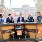 Salt Lake City, UT - October 29, 2016 - University of Utah: Demsond Howard, Rece Davis, Frank Caliendo, Lee Corso and Kirk Herbstreit on the set of College GameDay Built by the Home Depot (Photo by Scott Clarke / ESPN Images)