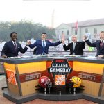 Baton Rouge, LA - November 4, 2016 - LSU Parade Grounds: Desmond Howard, Rece Davis, Lee Corso and Kirk Herbstreit on the set of College GameDay Built by the Home Depot (Photo by Allen Kee / ESPN Images)