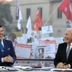 Baton Rouge, LA - November 4, 2016 - LSU Parade Grounds: Rece Davis and Lee Corso on the set of College GameDay Built by the Home Depot (Photo by Allen Kee / ESPN Images)