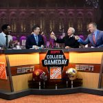 Seattle, WA - November 12, 2016 - University of Washington: Desmond Howard, Rece Davis, Lee Corso and Kirk Herbstreit on the set of College GameDay Built by the Home Depot (Photo by Scott Clarke / ESPN Images)