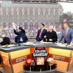 Seattle, WA - November 12, 2016 - University of Washington: Desmond Howard, Rece Davis, David Pollack, Lee Corso and Kirk Herbstreit on the set of College GameDay Built by the Home Depot (Photo by Scott Clarke / ESPN Images)