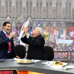 Seattle, WA - November 12, 2016 - University of Washington: David Pollack and Lee Corso on the set of College GameDay Built by the Home Depot (Photo by Scott Clarke / ESPN Images)
