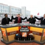 Kalamazoo, MI - November 18, 2016 - Western Michigan University: Desmond Howard, Rece Davis, Lee Corso and Kirk Herbstreit on the set of College GameDay Built by the Home Depot (Photo by Allen Kee / ESPN Images)