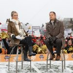 Kalamazoo, MI - November 19, 2016 - Western Michigan University: Samantha Ponder and Coach PJ Fleck of The Western Michigan University Broncos on the set of College GameDay Built by the Home Depot (Photo by Allen Kee / ESPN Images)