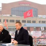 Indianapolis, IN - December 3, 2016 - Lucas Oil Field: The Washington State Univesity Cougars flag on the set of College GameDay Built by the Home Depot during the Big Ten Championship (Photo by Phil Ellsworth / ESPN Images)