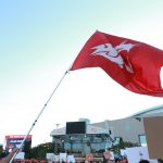 Atlanta, GA - September 2, 2017 - Georgia World Congress Center: Washington State University flag on the set of College GameDay Built by the Home Depot (Photo by Allen Kee / ESPN Images)