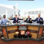 Atlanta, GA - September 2, 2017 - Georgia World Congress Center: Desmond Howard, Rece Davis, Lee Corso cand Kirk Herbstreit on the set of College GameDay Built by the Home Depot (Photo by Allen Kee / ESPN Images)