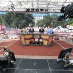 Columbus, OH - September 9, 2017 - The Oval: Desmond Howard, Rece Davis, David Pollack and Kirk Herbstreit on the set of College GameDay Built by the Home Depot (Photo by Allen Kee / ESPN Images)