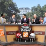 Columbus, OH - September 9, 2017 - The Oval: Desmond Howard, Rece Davis, David Pollack. Lee Corso and Kirk Herbstreit on the set of College GameDay Built by the Home Depot (Photo by Allen Kee / ESPN Images)