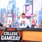 New York, NY - September 23, 2017 - Times Square Studios: Rece Davis, Lee Corso and Kirk Herbstreit on the set of College GameDay Built by the Home Depot (Photo by Joe Faraoni / ESPN Images)