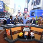 New York, NY - September 23, 2017 - Times Square Studios: Desmond Howard, Rece Davis, Keegan-Michael Key, Lee Corso and Kirk Herbstreit on the set of College GameDay Built by the Home Depot (Photo by Joe Faraoni / ESPN Images)