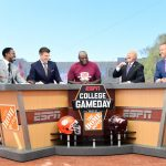 Blacksburg, VA - September 30, 2017 - Alumni Hall: Desmond Howard, Rece Davis, Bruce Smith, Lee Corso and Kirk Herbstreit on the set of College GameDay Built by the Home Depot (Photo by Scott Clarke / ESPN Images)