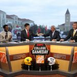 Fort Worth, TX - October 7, 2017 - Texas Christian University: Desmond Howard, Rece Davis, Lee Corso and Kirk Herbstreit on the set of College GameDay Built by the Home Depot (Photo by Allen Kee / ESPN Images)