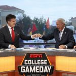 Fort Worth, TX - October 7, 2017 - Texas Christian University: Rece Davis and Lee Corso on the set of College GameDay Built by the Home Depot (Photo by Allen Kee / ESPN Images)