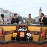 Fort Worth, TX - October 7, 2017 - Texas Christian University: Desmond Howard, Rece Davis, David Pollack and Kirk Herbstreit on the set of College GameDay Built by the Home Depot (Photo by Allen Kee / ESPN Images)