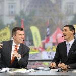 Columbus, OH - October 28, 2017 - Ohio State University: Rece Davis and David Pollack on the set of College GameDay Built by the Home Depot (Photo by Allen Kee / ESPN Images)